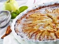 Рецепта Постен обърнат сладкиш / пай с ябълки от кокосово или соево мляко, стафиди, бадемов марципан и фъстъчено масло